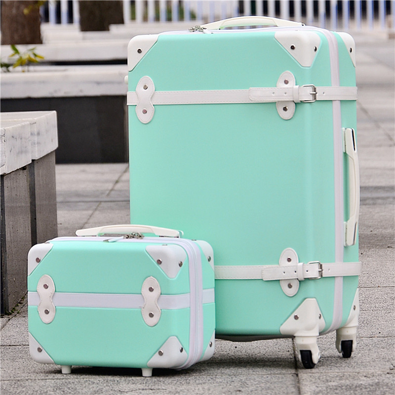 14 24(2 pieces/set) vintage abs+pc trolley luggage bags set on universal wheels,red married box,retro girl travel luggage bags
