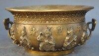 marked chinese brass 5 wealth god Mammon Jambhala statue Incense Burner Censer