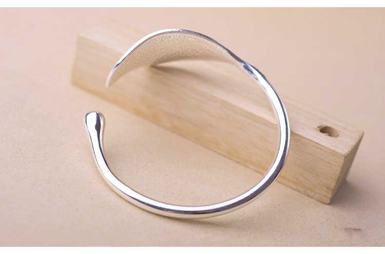 100% 925 liść ze srebra najwyższej próby uroku bransoletki i Bangles dla kobiet prezent ślubny regulowana bransoletka Pulseira Feminina SL206
