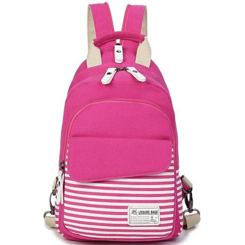 Men Women Canvas Backpack Stripes Single Shoulder Bag Teenagers Chest Bag for Boys Girls Travel Crossbody Daypack Bag