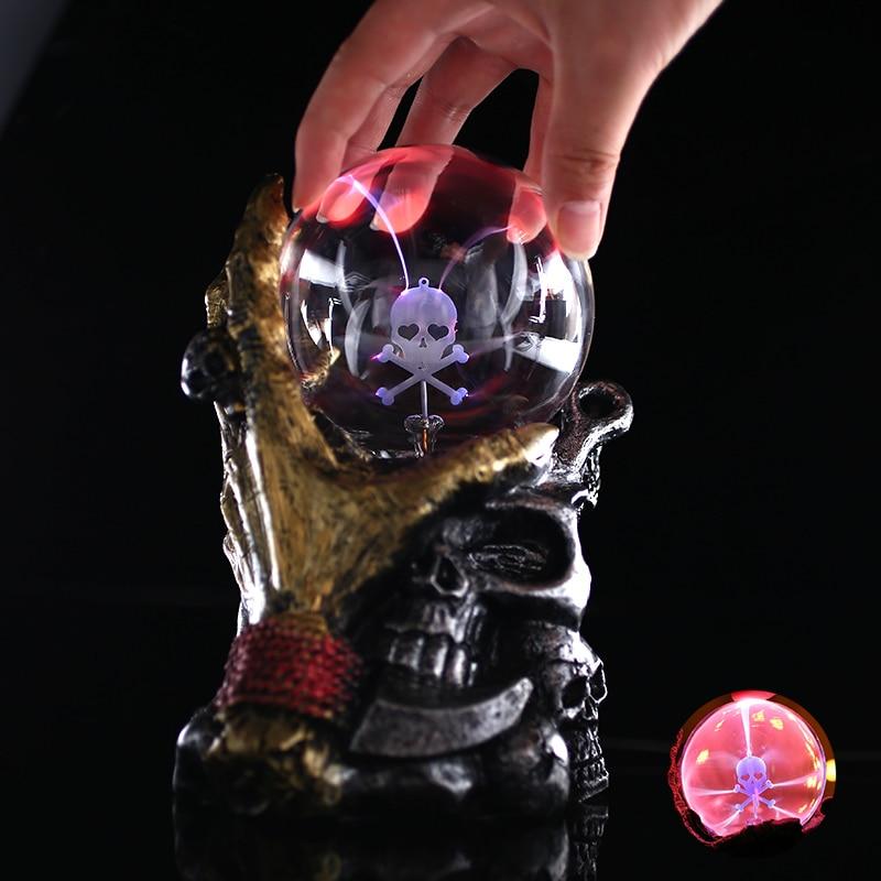 Magic Globe Lightning Home Decor Plasma Crystal Ball Halloween Sphere Desktop Music Night Lamp Skull Beautiful