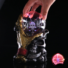 Magic Globe Lightning Home Decor Plasma Crystal Ball Halloween Sphere Desktop Music Night Lamp Skull Beautiful