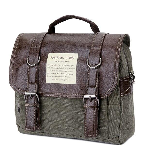 Leather Men Messenger Bags Vintage Shoulder Bag Men Canvas Casual Crossbody Bags For Men Male Handbag 4