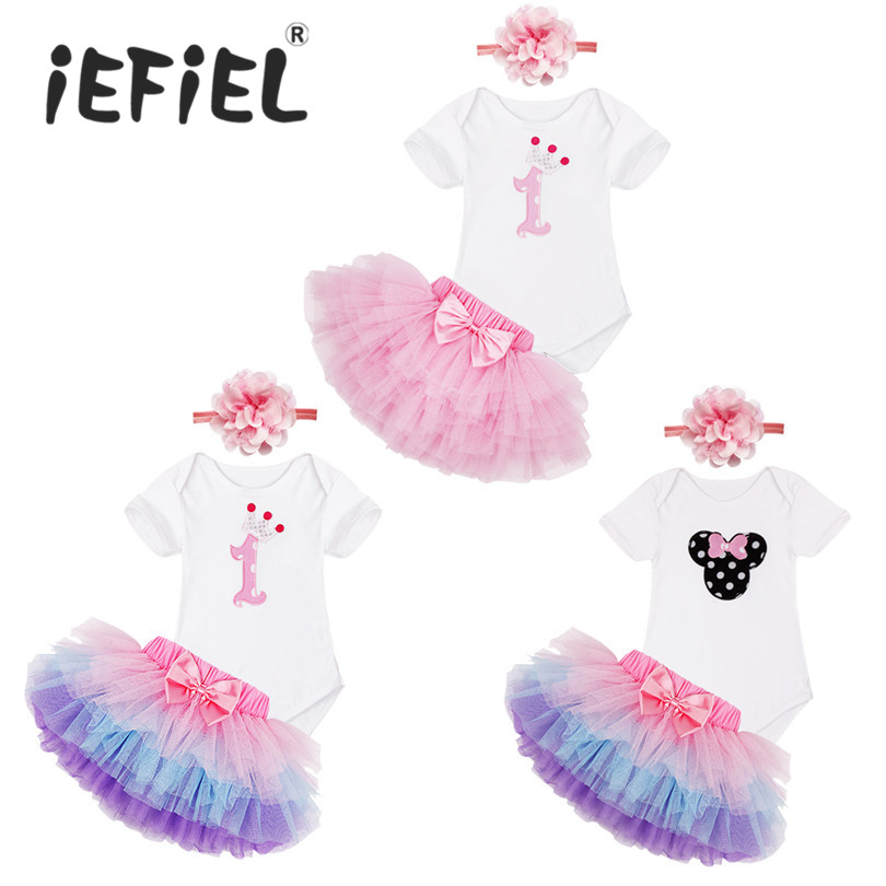 1c4e2caf959 1st First Birthday Baby Girl Party Outfit 3PCS Summer Clothing Sets Top T  Shirt Cake Tutu