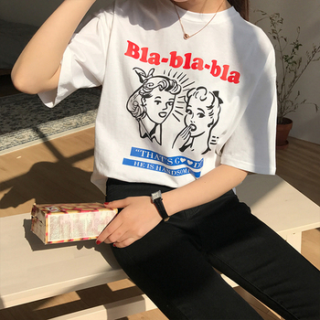 Character Printed Letter  Simple All Match Fashion 2018 New Spring Short Sleeve Female Cute College Wind Tees - discount item  9% OFF Tops & Tees