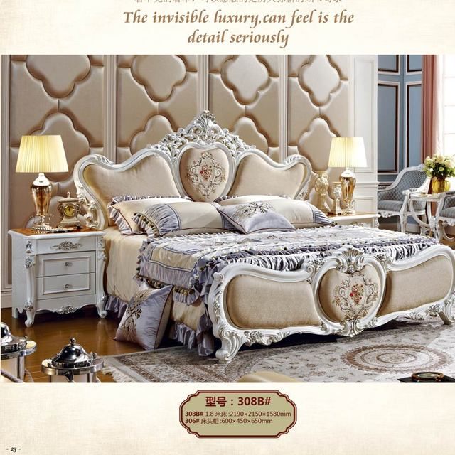 Foshan Factory Pearl White Classical Royal Bedroom Furniture Sets
