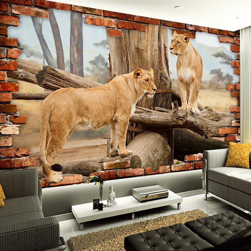 Photo Wallpaper 3D Stereo Relief Animal Lion Brick Wallpaper Living Room Kids Room Landscape Decor Mural Modern Wall PaintingPhoto Wallpaper 3D Stereo Relief Animal Lion Brick Wallpaper Living Room Kids Room Landscape Decor Mural Modern Wall Painting