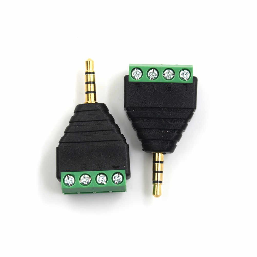 3.5 mm male 4 pin Terminal Block Plug connector Video AV Balun 3.5mm 4 Pole Stereo Male to AV Screw Terminal Stereo Jack