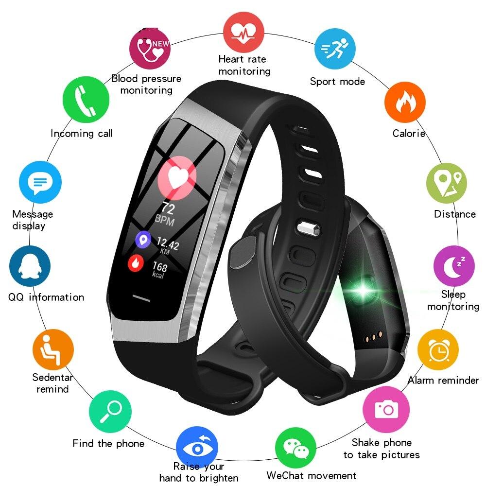 Смарт часы с Bluetooth, умные Цвет Сенсорный экран для мужчин женщин Детский Браслет спортивный браслет Хуа Вэй Сяо mi полосы для IOS Android E18 - 2