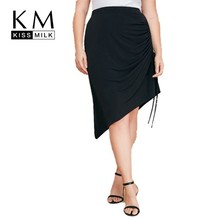 Kissmilk Plus Size Women Clothe High Waist Workplace OL Wind Personality Side Pleated Skirt plus size pleated side slit asymmetrical skirt