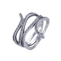 Summer Style Snake Shape Silver Ring With Cubic Zirconia 100 Authentic 925 Sterling Silver Rings For