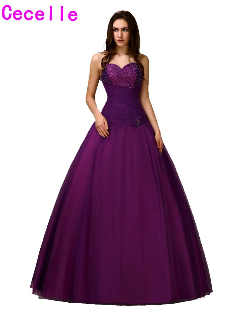 Fotos prenses elbise modelleri picture - Klasik Basit Mor Uzun Masquerade Balo Elbiseleri 2017 Balo Prenses Kat Uzunluk Sevgiliye Boncuklu T L Rg N