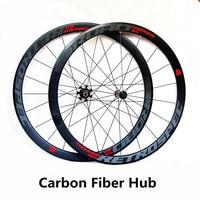 RS ultra light carbon fiber hub 700C road bike wheels 40m wheelset 4 sealed bearing alloy rim colorful reflective wheels