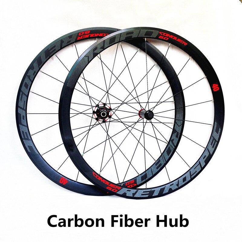 Ultra-léger en fiber de carbone hub 700C route vélo roues 40 m roues 4 scellée portant alliage jante coloré réfléchissant roues