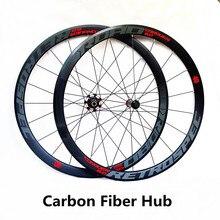 Moyeu de fibre de carbone ultra-léger 700C roues de vélo de route 40 m roues 4 roues réfléchissantes colorées de jante en alliage de roulement scellé