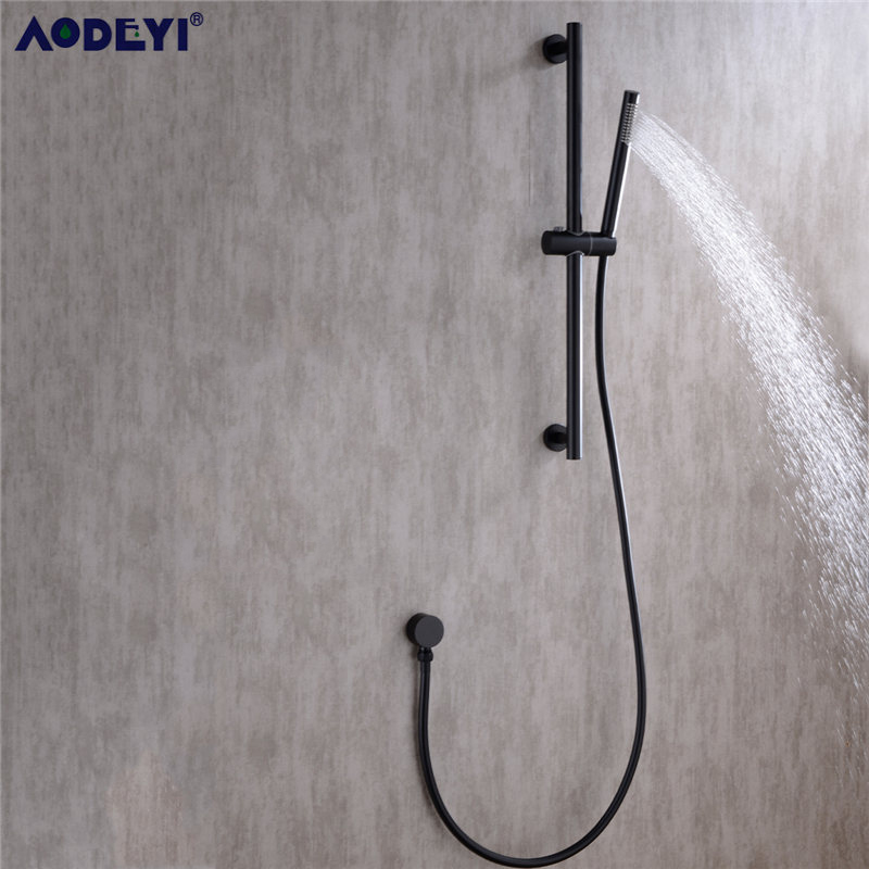 AODEYI Black SUS 304 Stainless Steel Sliding Adjustable Bar Shower Bar Shower Head Holder Bathroom Bar