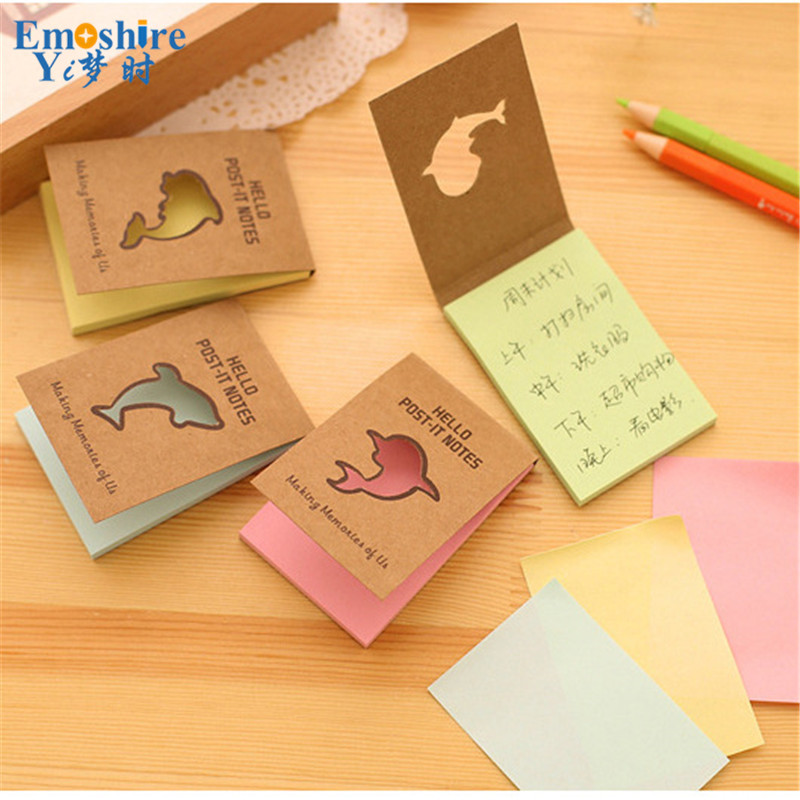 The new Korean Dolphin Series Of Stickers Posted Kraft Paper N times Posted Cute Hollow Message Notes Book N011