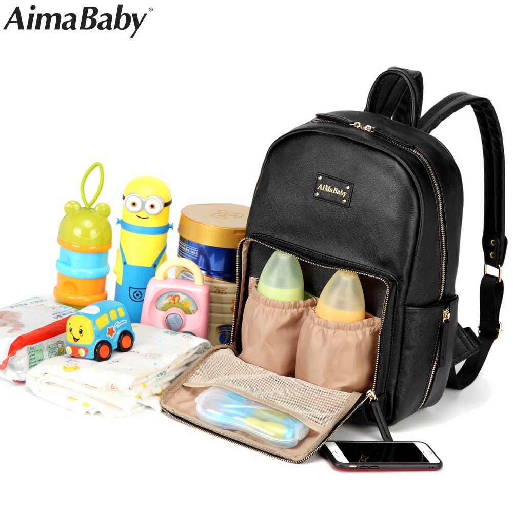 aimababy pu leather baby bag organizer tote diaper bags mom backpack mother maternity bags. Black Bedroom Furniture Sets. Home Design Ideas
