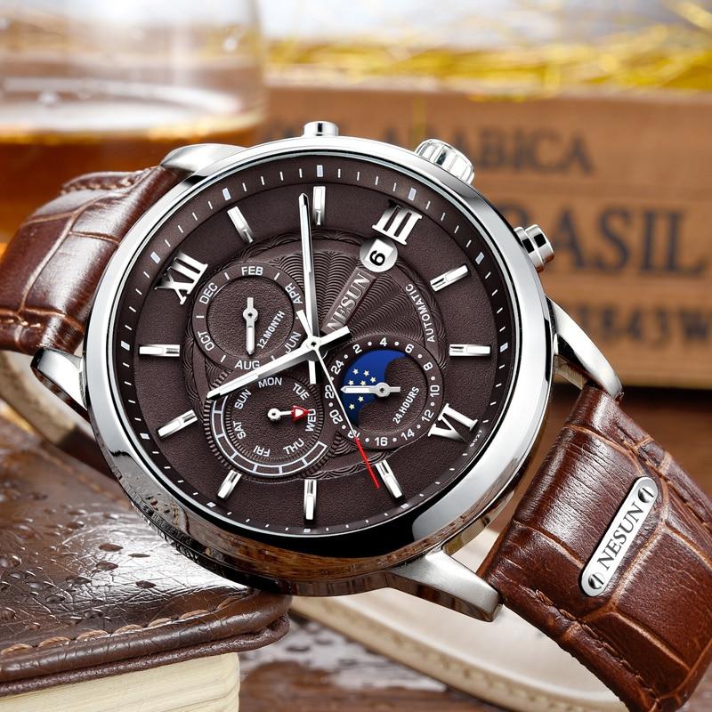 Nesun 크리 에이 티브 드레스 남자 자동 기계 손목 시계 사파이어 방수 패션 스포츠 시계 시계 relogio masculino-에서기계식 시계부터 시계 의  그룹 1