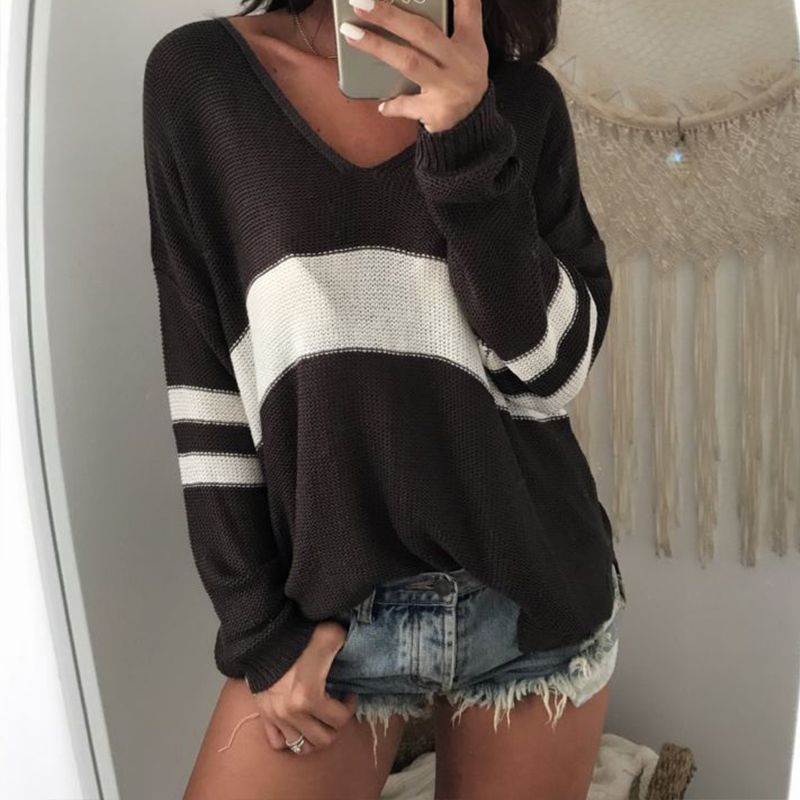 Womens Long Sleeve Knitted Sweater Ladies V Neck Tops Female Causal Striped Pullover Pull Femme Knitwear Shirt Oversized Jumpers