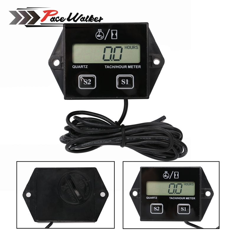 Motor Tachometer Tach Hour Meter Inductive Meter Motorcycle Motocross Motorcycle Racing Engine LCD Display Replaceable battery