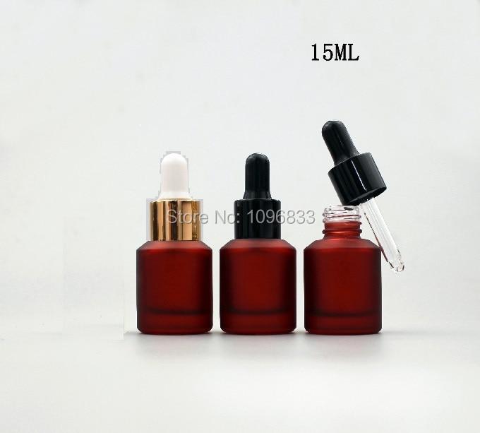 15ML 30ML Rose Red Glass Bottle Pipette Dropper Essential Oil Bottles Cosmetics Essence Emulsion Packing Bottle