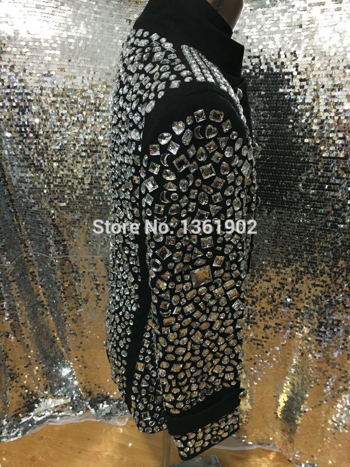 Plus size Custom made schwarz Crystal Jacke Sänger Tänzer Leistung - Herrenbekleidung - Foto 4