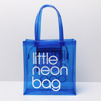 Transparent candy color PVC waterproof shopping bag beach bag female casual shoulder bag