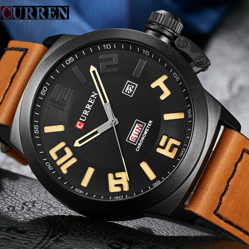 Mens Watches Top Brand Luxury Black Quartz Watch Curren Men Wristwatches Leather Strap Male Casual Sport Clock Relogio Masculino relogio masculino doobo quartz watch men 2017 top brand luxury leather mens watches fashion casual sport clock men wristwatches