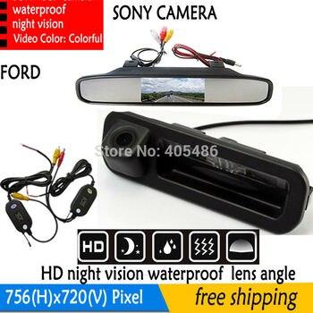 Mango inalámbrico maletero del coche de 4,3 pulgadas Monitor de espejo retrovisor Monitor de aparcamiento + cámara de marcha atrás de coche SONY para Ford Focus Mondeo Kuga