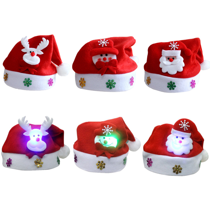 3172abf4b6874 1PC Adult Kids LED Christmas Hat Santa Claus Reindeer Snowman Glow Xmas  Gifts Cap 2019 New Year Chrismas Party Decor Supplies - makepartynow