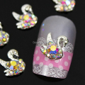 b412 50pcs/lot  Mix-Colors AB Rhinestones Flatback Alloy 3D Swan Design Salon Nail Art Tips Cell Phone Craft Case Decorations