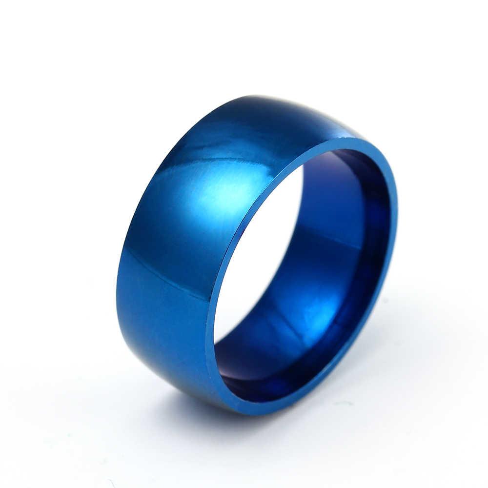 8MM BLUE สี 316L สแตนเลสแหวนไทเทเนียมแหวนเหล็กสำหรับสตรีและผู้ชาย
