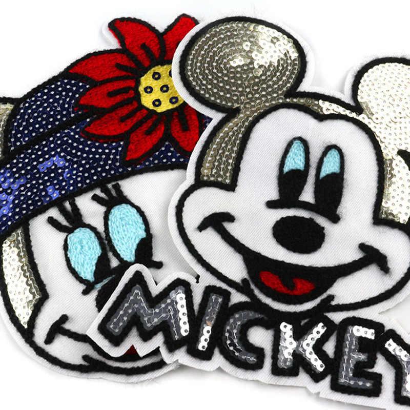 1 предмет, модная одежда с вышитыми блестками аппликациями и нашивками в виде головы Минни и Микки Мауса футболка для маленьких девочек, пальто пришитые нашивки