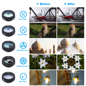 Image 4 - APEXEL 5 pçs/lote 10in1 lPhone CPL Lente Da Câmera Lente Olho de Peixe Lente Macro Lente zoom/Fluxo/Estrela/Caleidoscópio para iPhone 6 7 8 plus x