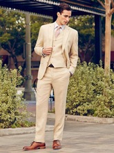 New Arrival Beige Cream 3Pcs Tuxedos Groom Mens Suits Formal Party Suit Custom