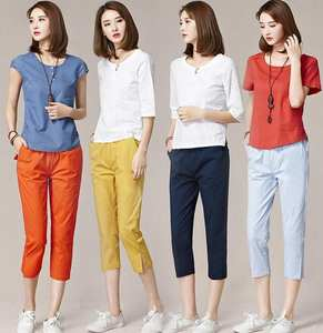 cotton Pants Female Summer Woman Pencil Open Pants Capri