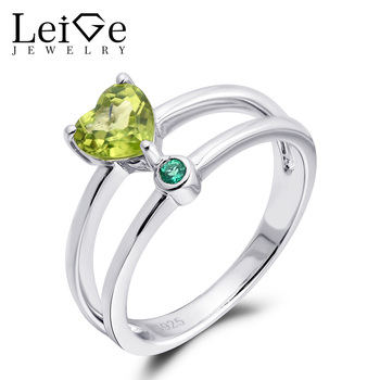 Leige Jewelry Natural Peridot Ring Heart Cut Double Band Sterling Silver Customized Wedding Rings for Women August Birthstone