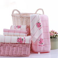 3 Pcs/Set 34x34/34x74/70x140cm 100% Cotton Absorbent Face Hand Bath Towel Rose Fragrance Embroidered Towel For Women