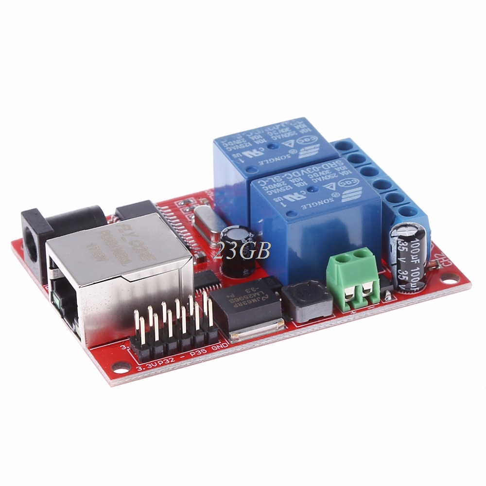 LAN Ethernet 2 Way Relay Board Delay Switch TCP/UDP Controller Module WEB Server O07 lan ethernet 2 way relay board delay switch tcp udp controller module web server n27