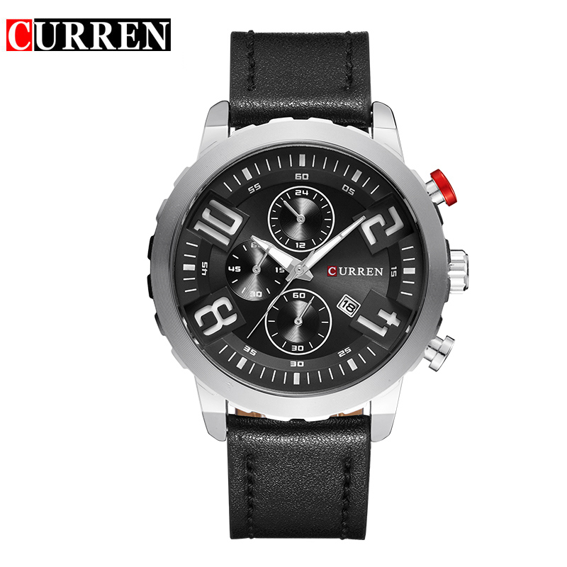 Curren Watches Men Top Brand Luxury Cow Leather Strap Quartz-Watches Sport Men's Waterproof Relogio Heren Hodinky 8193