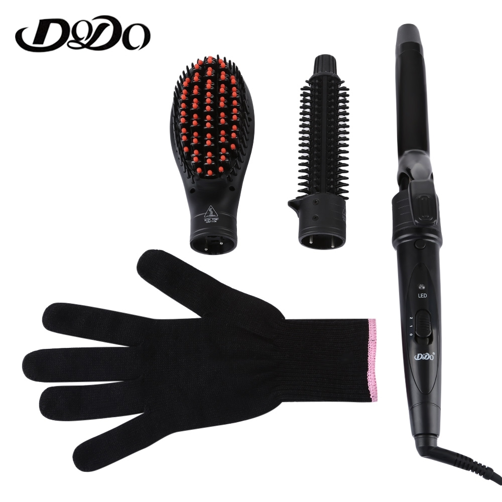 DODO 3 in 1 Interchangeable Curling Wand Hair Curler Iron Ceramic Curling Irons Hair Styling Tool Electric Hair Curler Comb Set 3 in 1 electric hair curler wand hair straightener brush comb set ceramic triple barrel curling roller styling tongs spiral tool