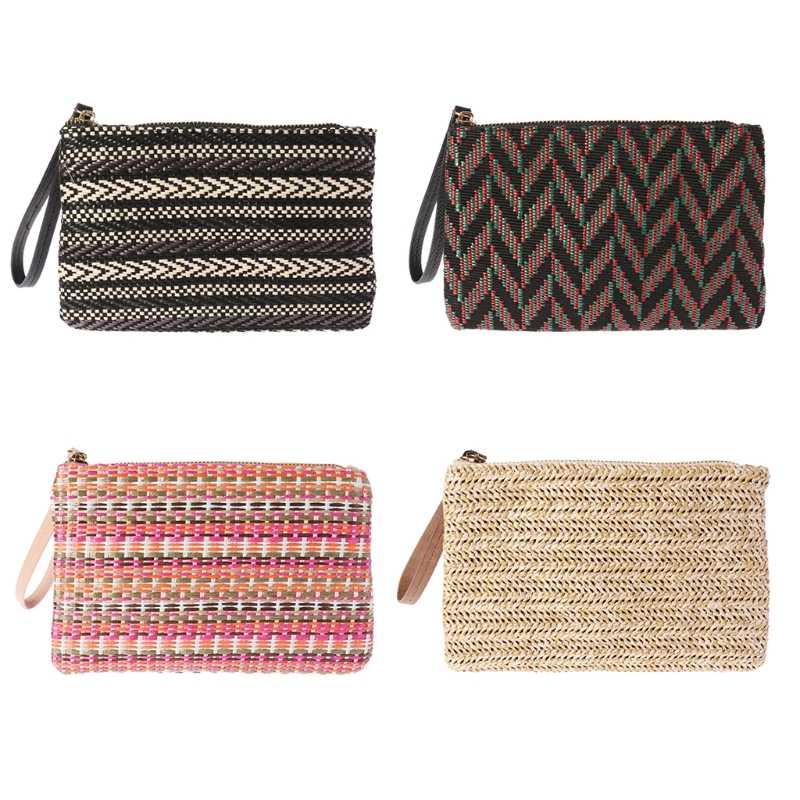 4a49e3e737d4 Женская мода бумажник держатель для карт портмоне клатч Сумочка Кошелек для  дам летние пляжные монеты соломы
