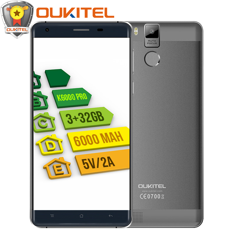Free Gift! Official Oukitel K6000 Pro Mobile Phone MT6753 Octa Core Android 6.0 <font><b>Cellphone</b></font> 16MP 3G RAM 32G ROM 4G LTE 5.5&#8243; 1080P