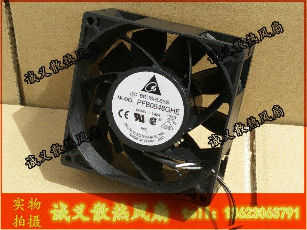 Delta 9238 48В 0.42A 92x92x38мм PFB0948GHE 3 проводный гарантийный уровень качества кулер для процессора радиатор осевой вентилятор охлаждения