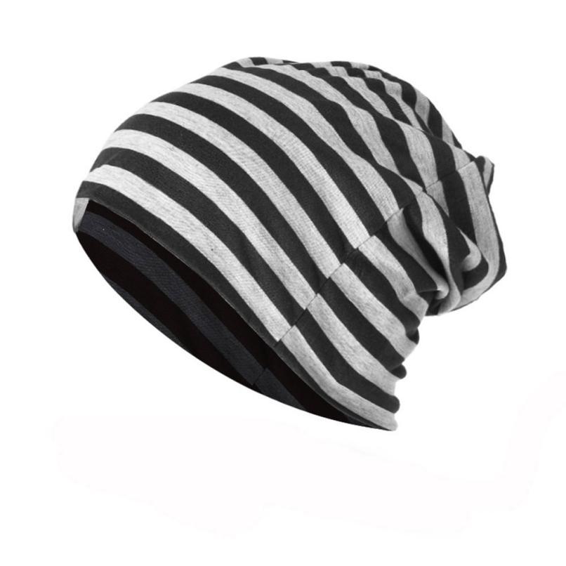 Men Women Striped Warm Crochet Winter Knit Ski   Beanie   Skull Slouchy Caps Winter Hats Female Caps   Skullies     Beanies   casquette A8