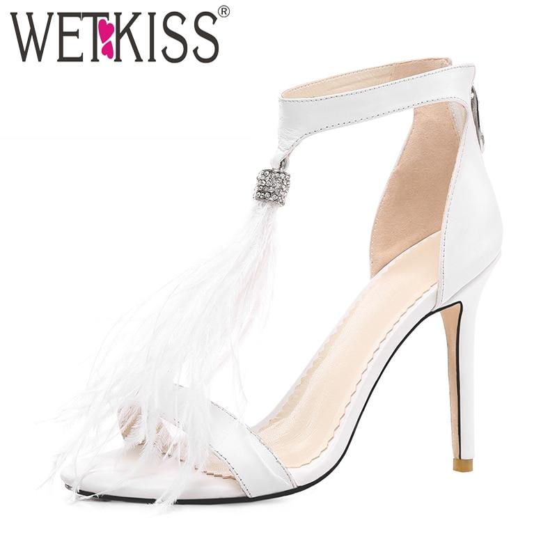 WETKISS T Strap sandales femmes bout ouvert chaussures mode cristal plume chaussures femme vache en cuir talons hauts chaussures femme été