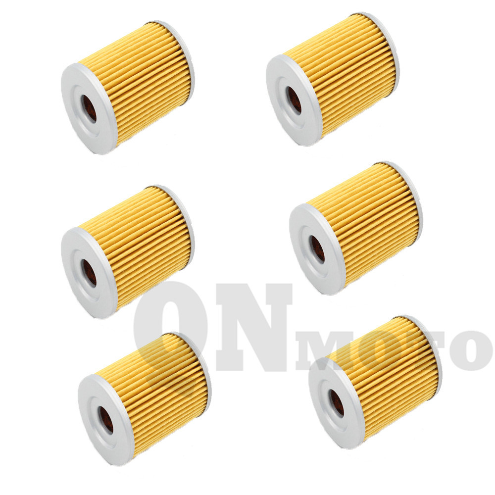 6 Pcs Motorcycle Oil Filter For LT 4WD H,J,K,L,M,N,P,R,S,T,V,W,X 87-99 LT230 SF,SG,SH,SJ 85-88 LT-F160 X,Y,K1,K2 99-02
