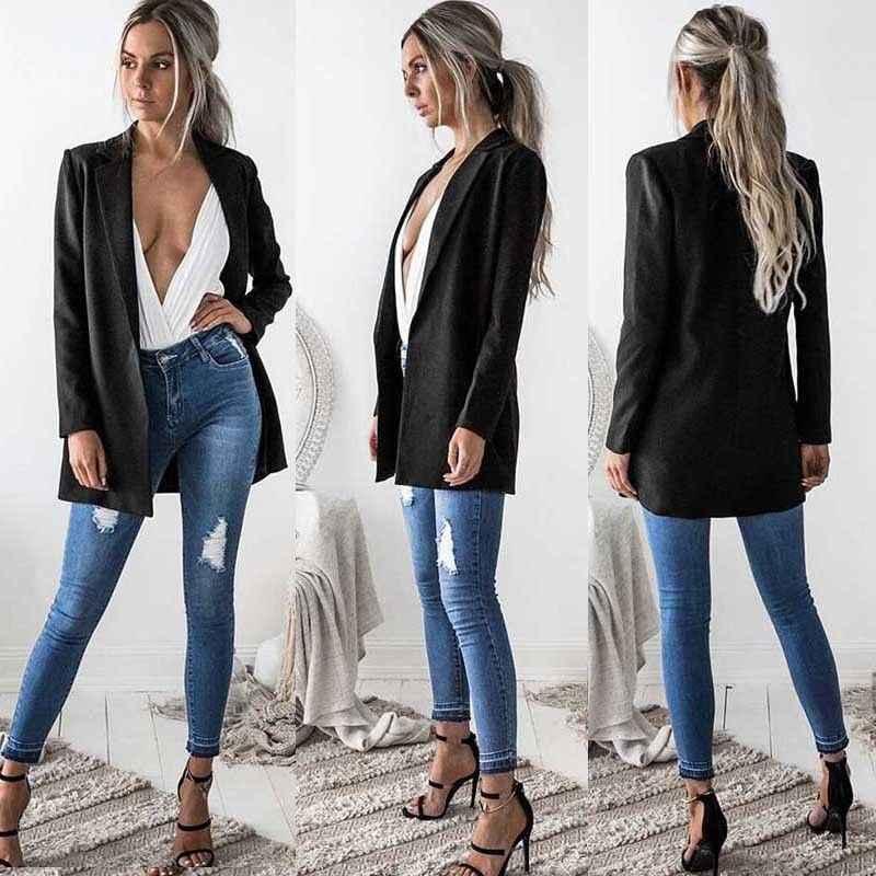 Nuove Donne di Modo Delle Signore del Cappotto Del Vestito della Giacca Sportiva di Affari Manica Lunga Outwears Ufficio della signora Lungo Giacche