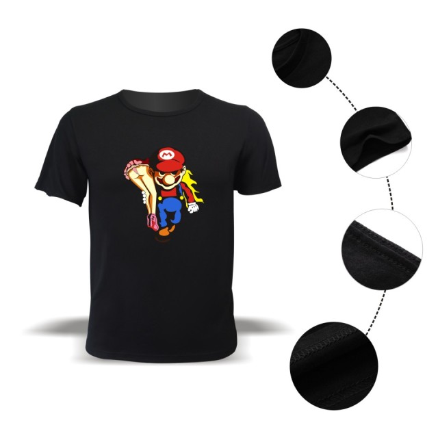 Men short sleeve t-shirt super mario shirt cartoon super mario bros t shirt street wear plus size tops and tee 4XL
